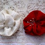 Cream White and red Handmade Flowers