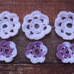 Crochet White and Purple Flowers